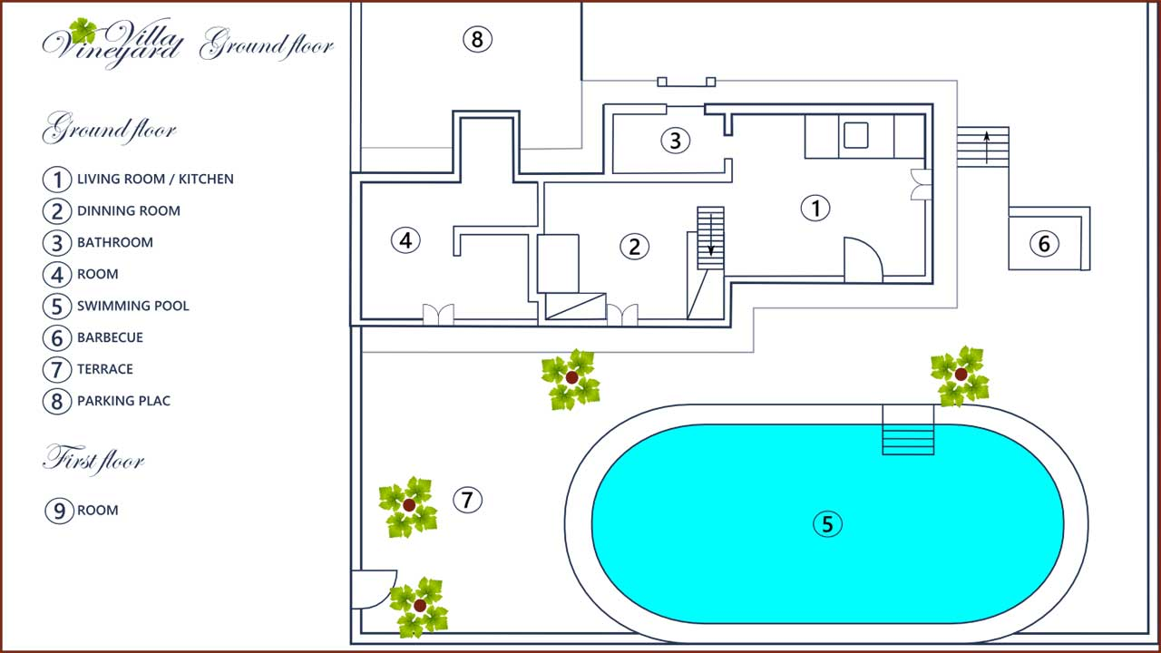 Bol island brac vineyard villa villa with pool vidova for Swimming pool design layout